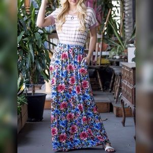 Dresses & Skirts - Mauve Stripe Floral Maxi Dress